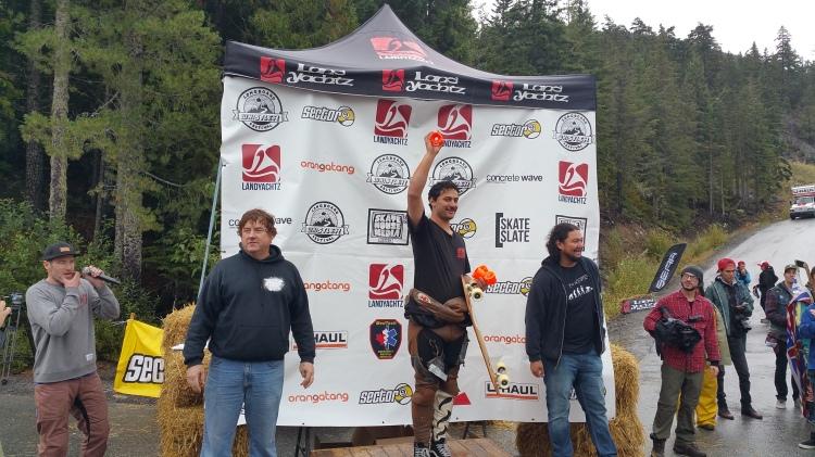 Classic luge podium Whistler Longboard Fest 2015