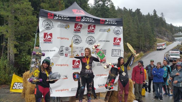 Women podium Whistler Longboard Fest 2015