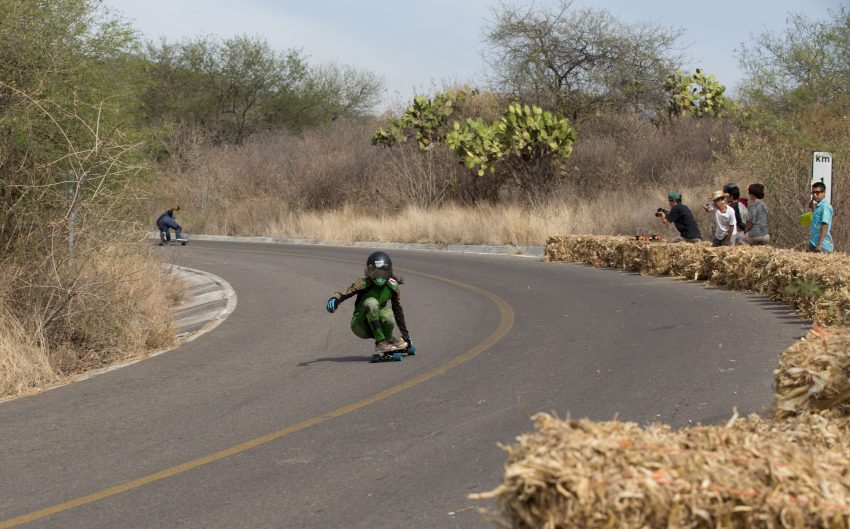 Sylvia Mena Cortes of Costa Rica powers through the wavy pavement of the last turn