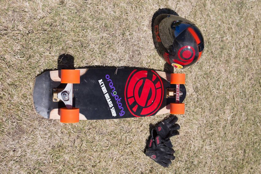 Max Vickers Deck: Original Arbiter 36 Trucks: Ronin 130mm Wheels: Orangatang Wheel Bearings: Bones Race Reds Grip Tape: RDVX