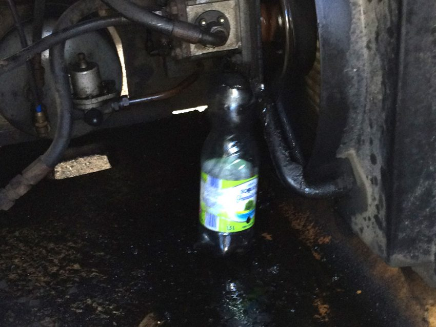 The bus driver's McGyver solution to stop the oil leaking from his bus