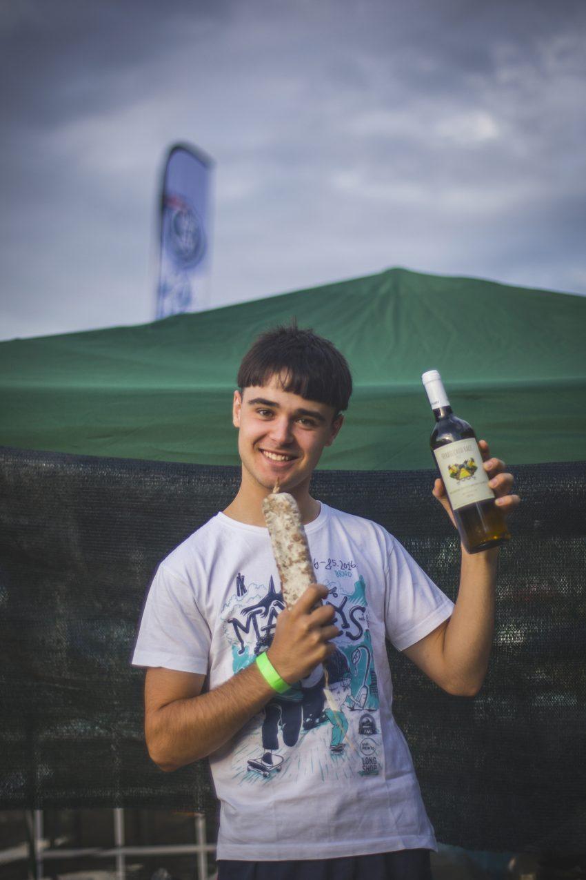 Andre Ilič, salami, and wine